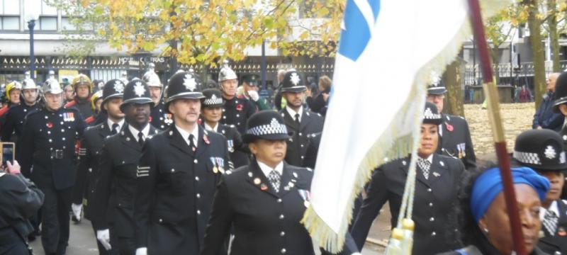 On the march at Remembrance Sunday 2018