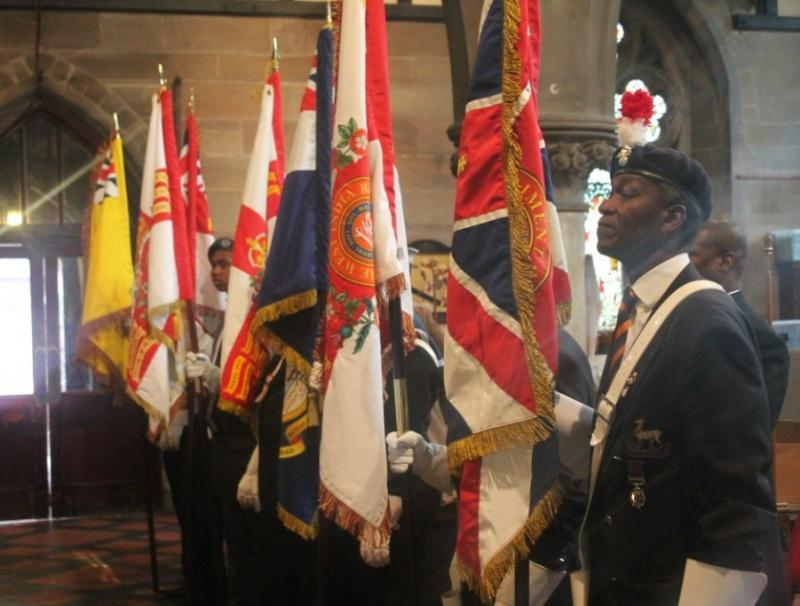 W I Regimental Standards on Parade, SS Empire Windrush Sunday 2013