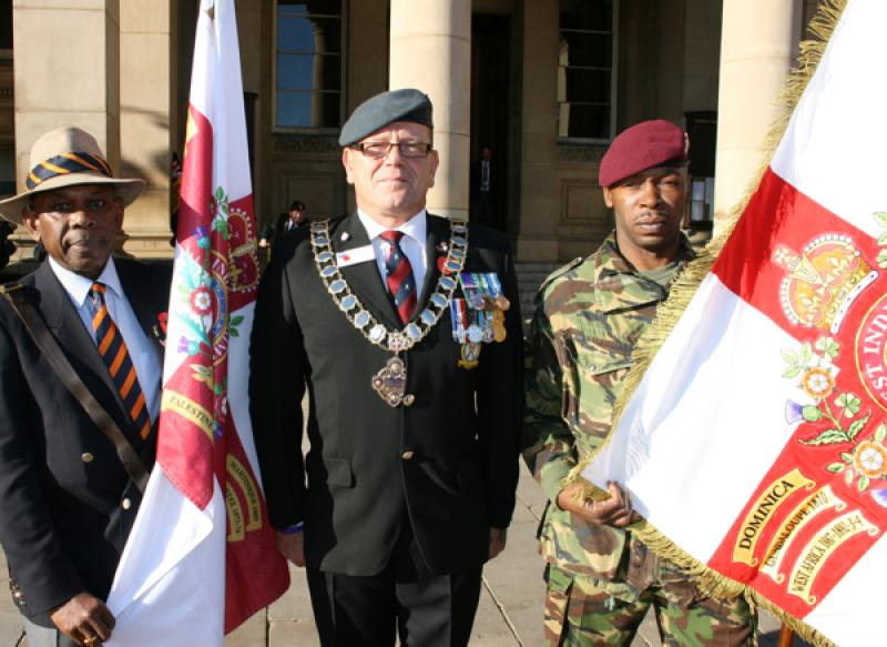 Poppy Appeal Launch 2011 welcomes WAWI. West Indian Regiment Standards