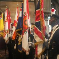 W I Regimental Standards on Parade, SS Empire Windrush Sunday 2013