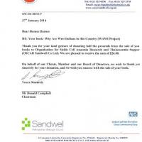 Letter of thanks from Oscar Sandwell Charity